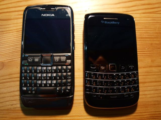Nokia E71 and Blackberry 9790