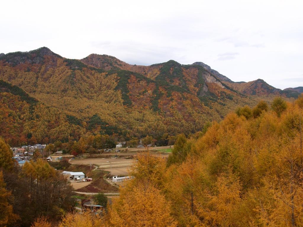 埋沢大橋より川上村の集落と天狗山