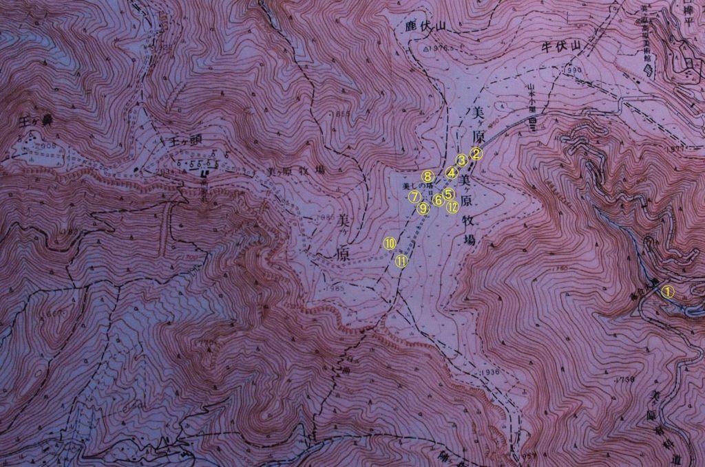 赤色立体地形図コンビニで山っぷによる美ヶ原散策路