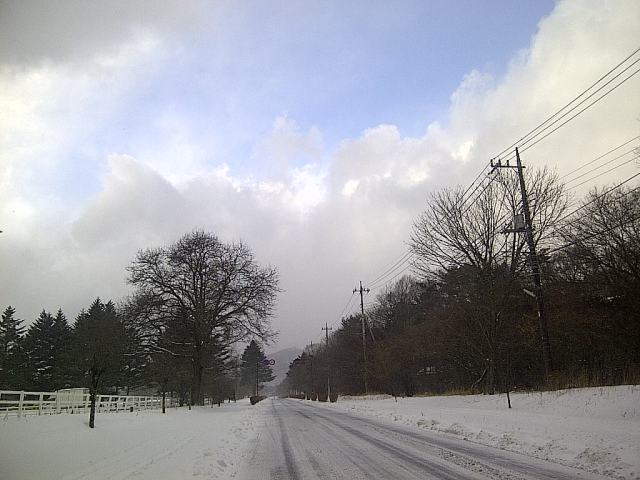清泉寮に向かう雪道