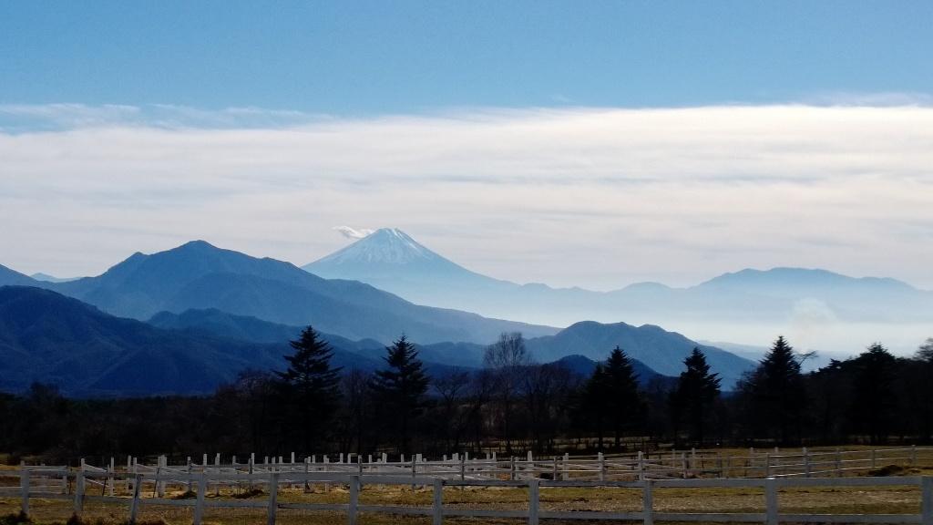 初冬の清泉寮より雪を被る富士山