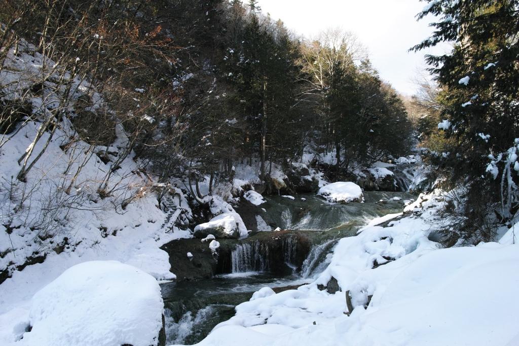 冬のおしどり隠しの滝