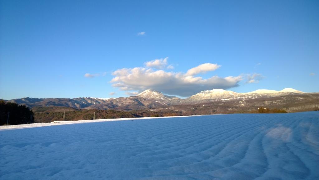 雪原越しに蓼科山を