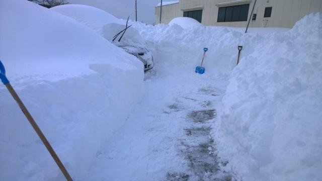 2/15夕刻の除雪した駐車場