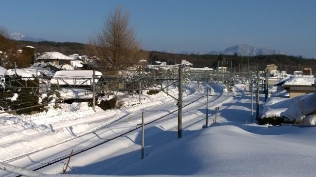 午後の小淵沢駅構内遠景