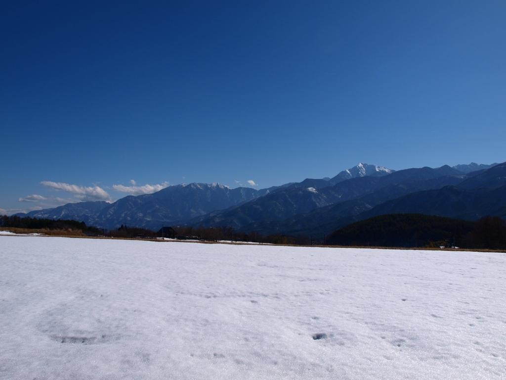 雪に覆われた水田越しに南アルプスを