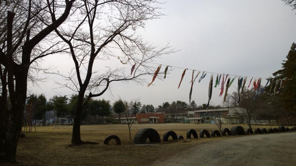 富士見町立境小学校の校庭と桜の木140412