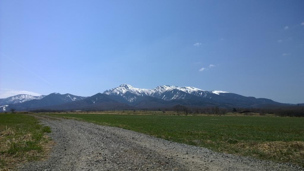 牧場越しに早春の八ヶ岳を遠望1