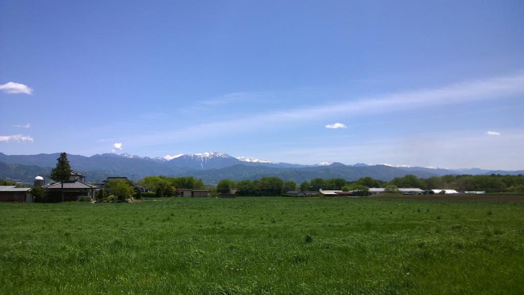 牧草地越しに大芝高原から南アルプス