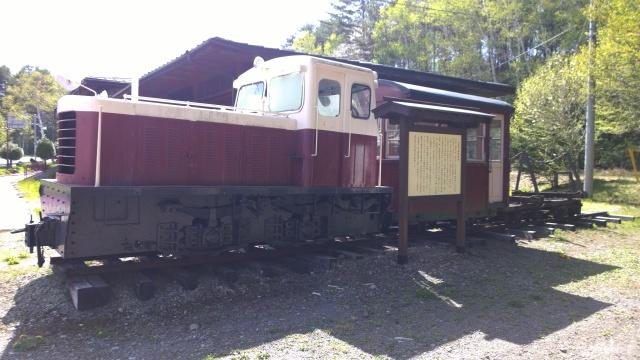 開田郷土館前の森林鉄道車両1