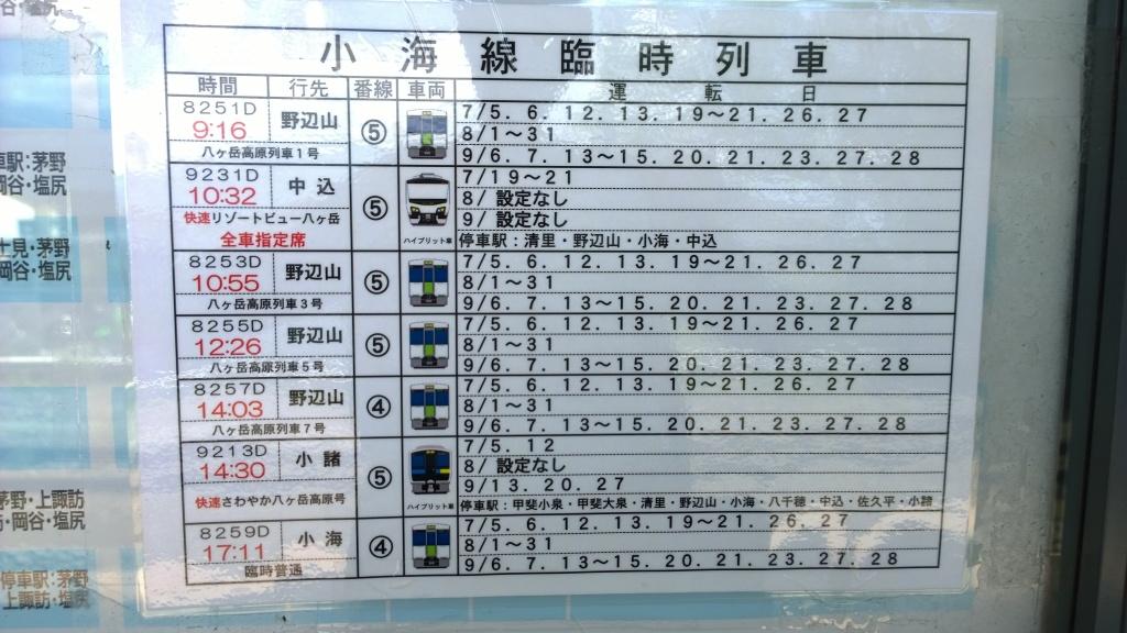 2014年夏の小海線臨時列車時刻表小淵沢駅