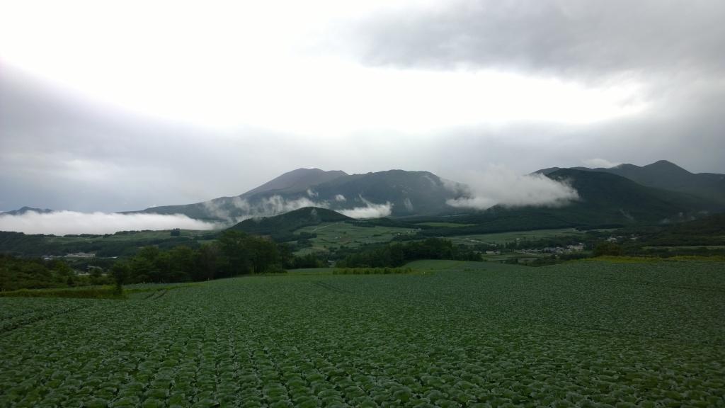 嬬恋村のキャベツ畑から浅間山