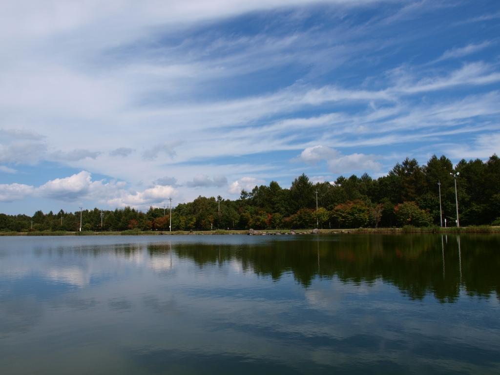八ヶ岳ふれあい公園の池越しに