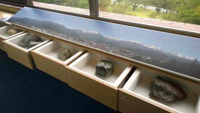 大町山岳博物館3階展望台と岩石標本