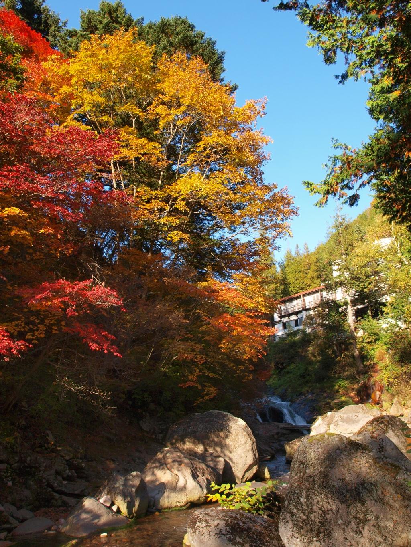 明治温泉とおしどり隠しの滝の紅葉