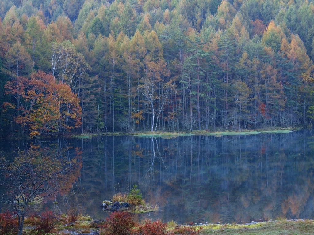 朝霧と紅葉の御射鹿池20141018_3