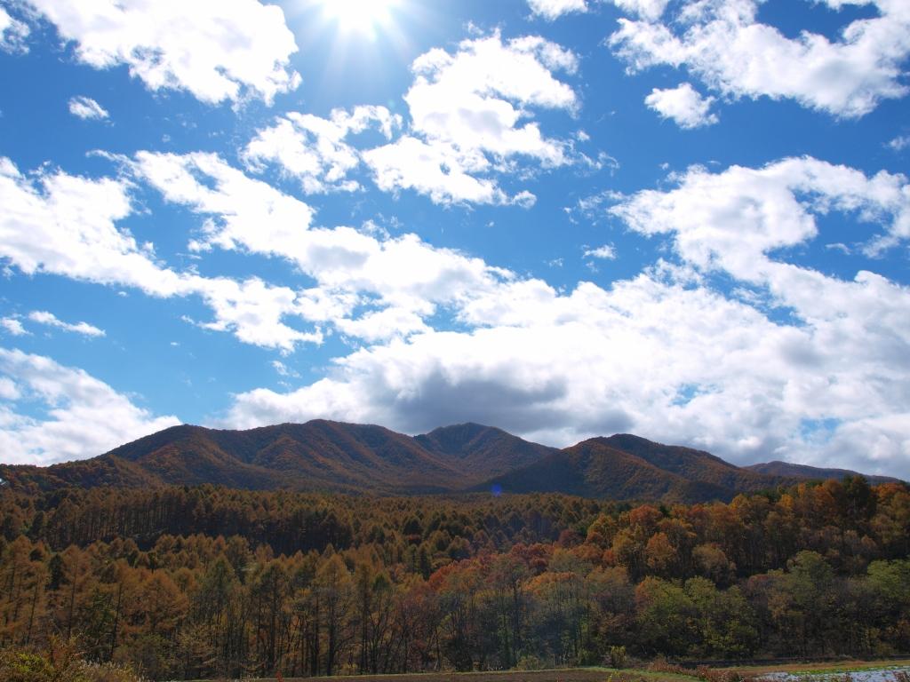 川上村から望む黄葉の女山1