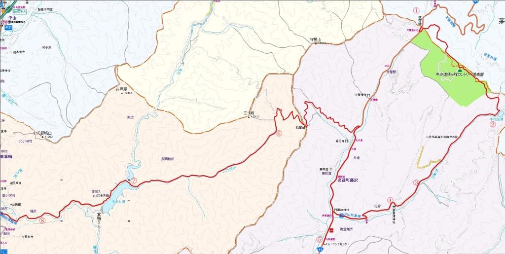 箕輪ダム界隈map