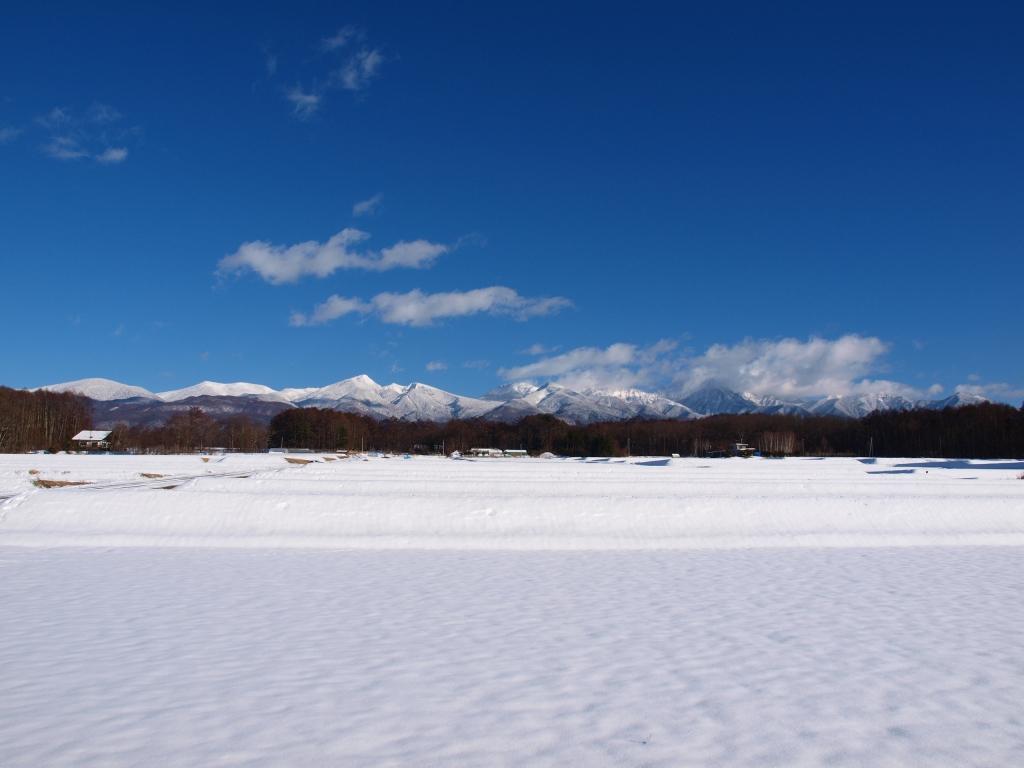 雪原の向こうに広がる八ヶ岳の山々