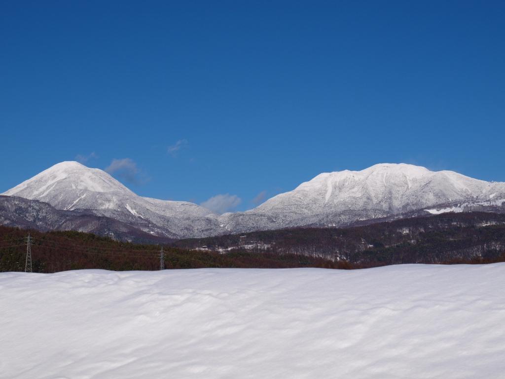 雪原から望む蓼科山と横岳