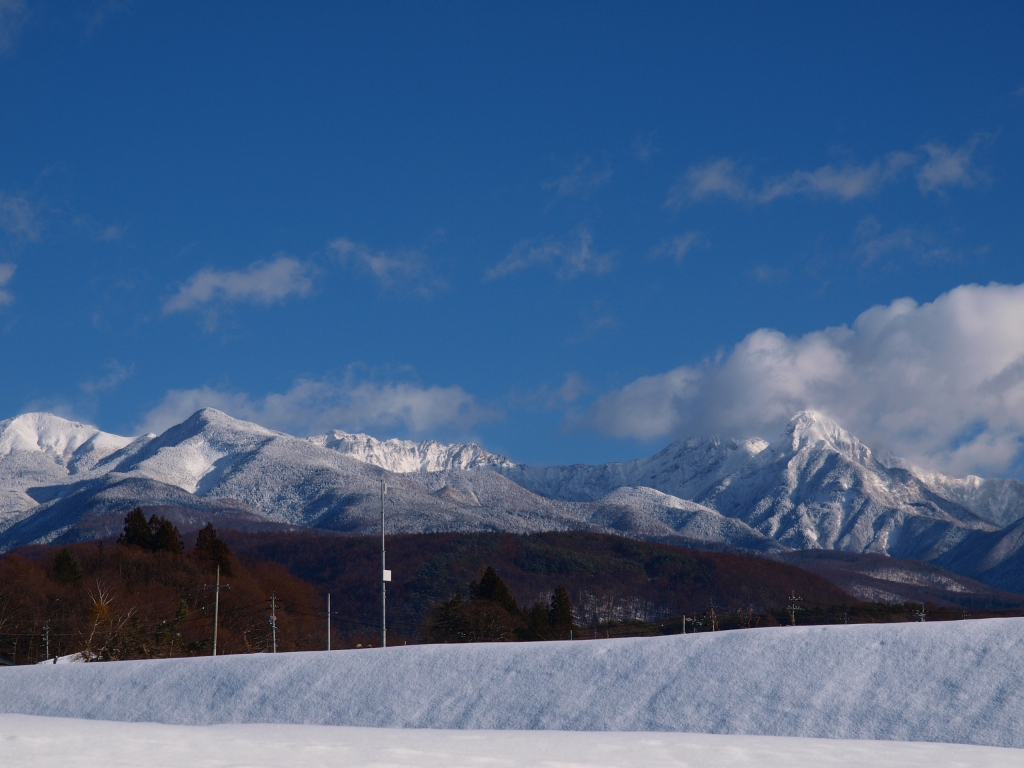 雪原から望む硫黄岳と赤岳