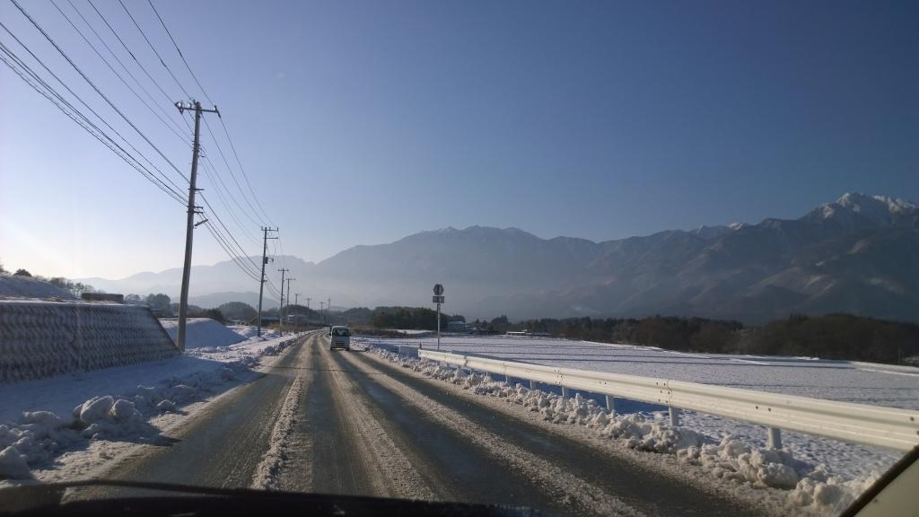 除雪後の朝の七里岩ライン