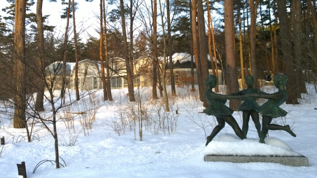 雪の八ヶ岳美術館庭園2