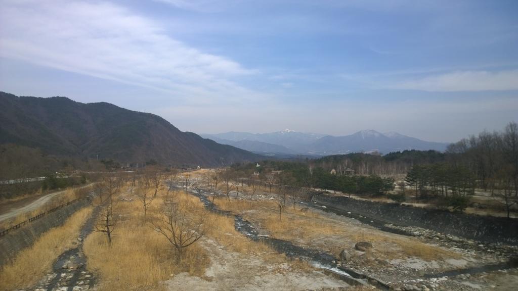 甲斐駒大橋から甲府盆地遠望