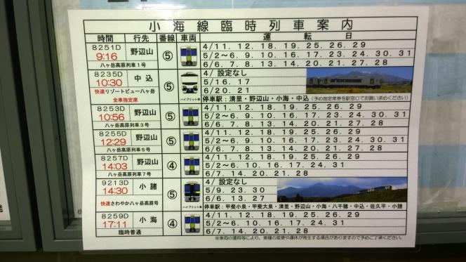 2015年シーズンの小淵沢駅発小海線臨時列車時刻表
