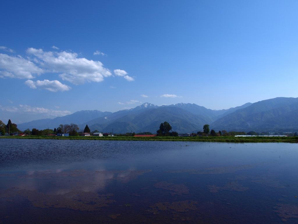 水田の水面と南アルプスの山並み