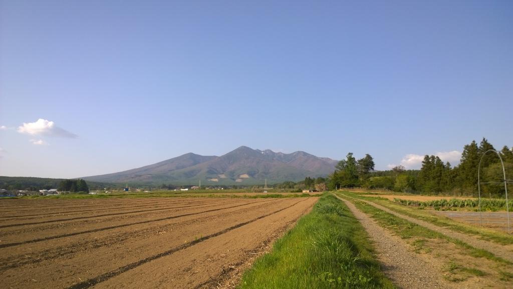 耕された畑と八ヶ岳
