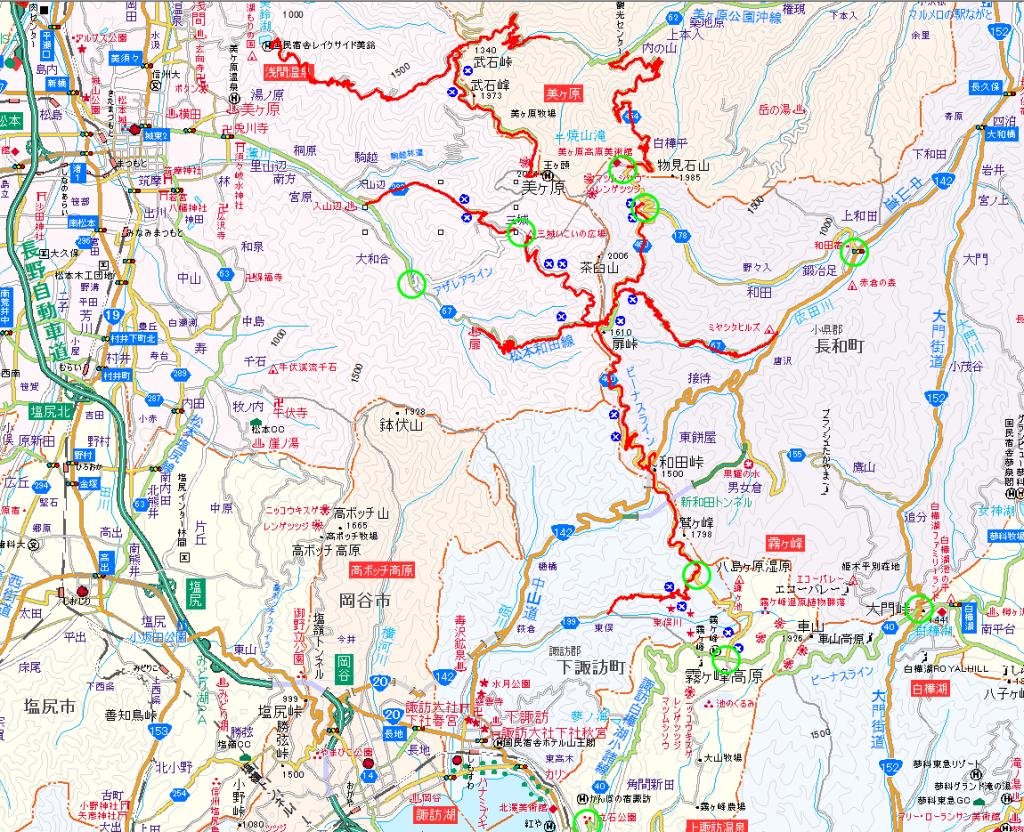 ビーナスライン冬季閉鎖区間略図