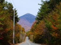 紅葉の編笠山へ昇る道