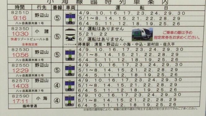 2016年シーズンの小淵沢駅発小海線臨時列車時刻表