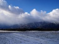 雪雲と南アルプス