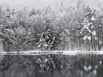4月の雪、御射鹿池9