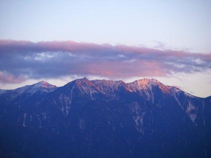 夕焼けの鳳凰三山