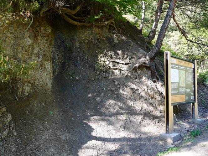 ちょっとマイナーな中央構造線露頭は、ゲートの奥の素敵な小天地(中央構造線、板山露頭)