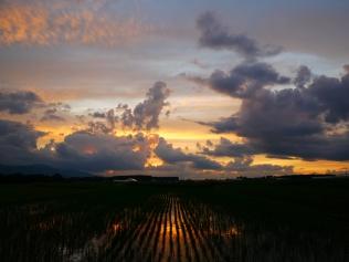 沸き立つ雲と色付く夕暮れ1