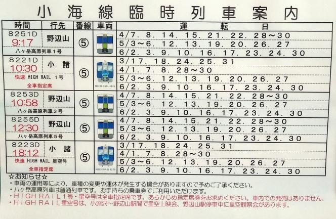 2018年シーズンの小淵沢駅発小海線臨時列車時刻表