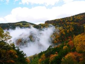 沸き立つ雲の中、蓼科・大河原峠の秋(2018.10.7)