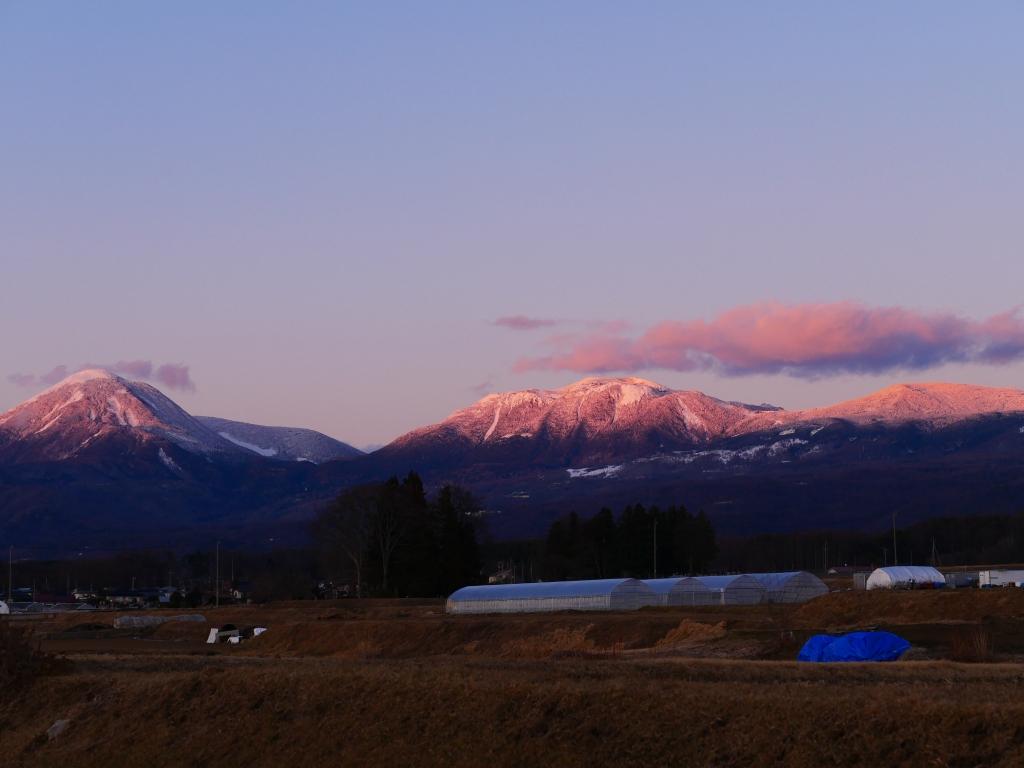 薄紅色に染まる蓼科山と北横岳